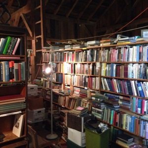 Books piled high in the Colebrook Book Barn